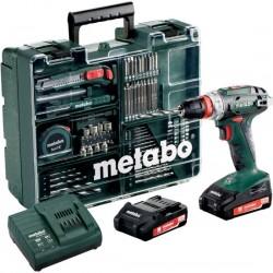 METABO Accu boorschroefmachine 18 volt 2 x 2,0 ah li-power, SC 60, vele toebehoren, 10 mm boorhouder BS 18 602217880